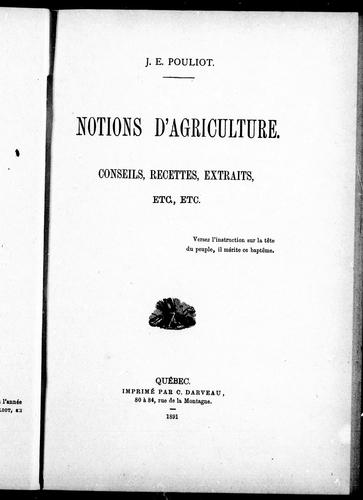 Download Notions d'agriculture