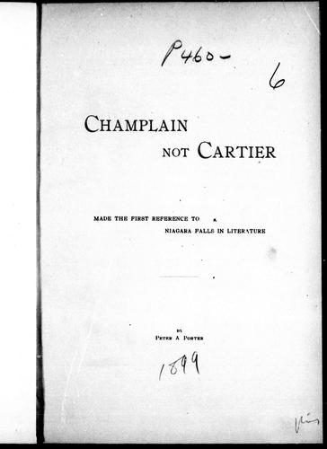 Download Champlain not Cartier made the first reference to Niagara Falls in literature