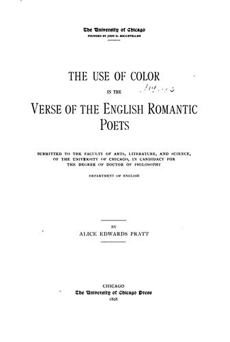 The Use of Color in the Verse of the English Romantic Poets …