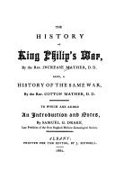 The history of King Philip's war by Increase Mather