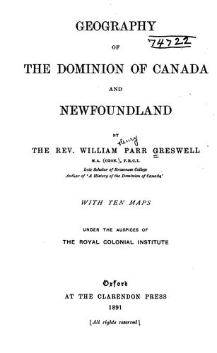 Download Geography of the Dominion of Canada and Newfoundland