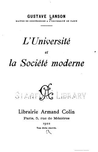 L' université et la société moderne.