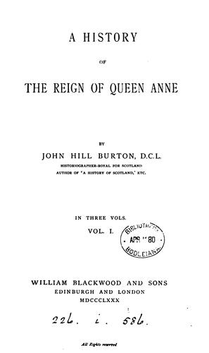 Download A history of the reign of Queen Anne.