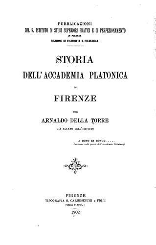 Download Storia dell' Accademia platonica di Firenze