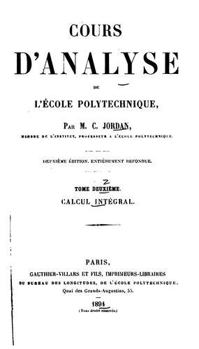 Download Cours d'analyse de l'École polytechnique