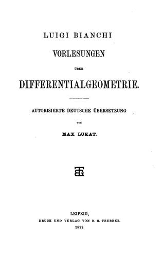 Download Vorlesungen über differentialgeometrie.