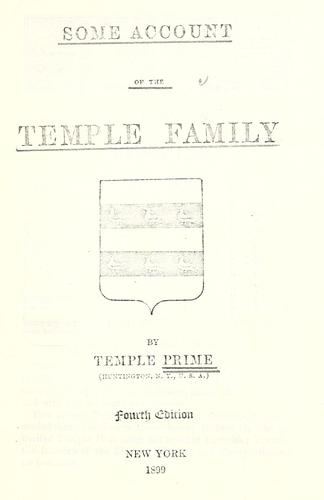 Some account of the Temple family