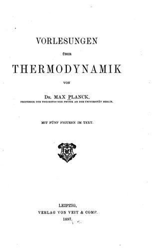 Download Vorlesungen über thermodynamik