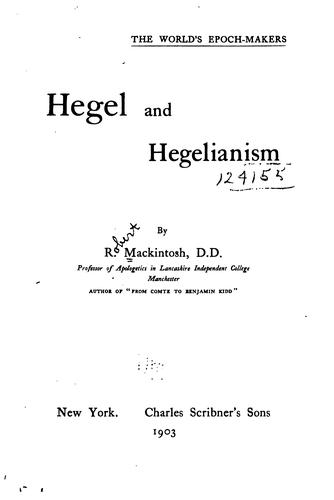 Download Hegel and Hegelianism