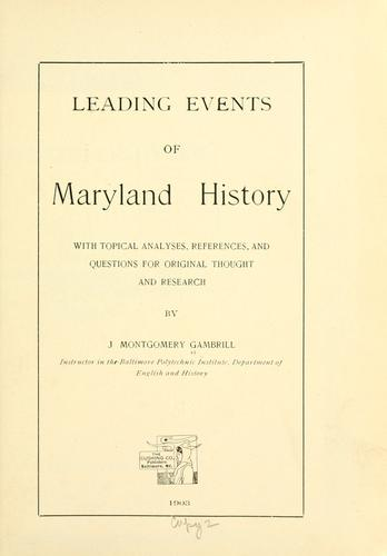 Leading events of Maryland history