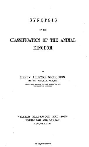 Download Synopsis of the classification of the animal kingdom