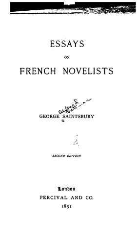 Download Essays on French novelists