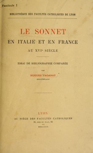 Le sonnet en Italie et en France au XVIe siècle.