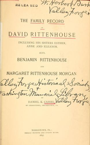 Download The family record of David Rittenhouse