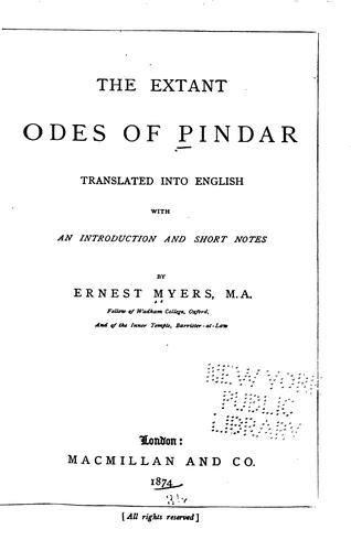 Download The extant odes of Pindar