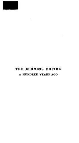 The Burmese empire a hundred years ago