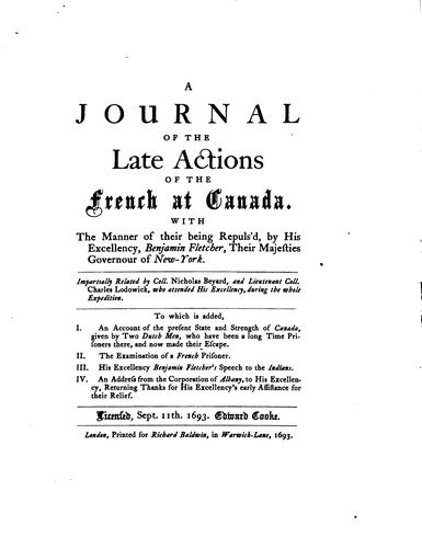 Journal of the late actions of the French at Canada