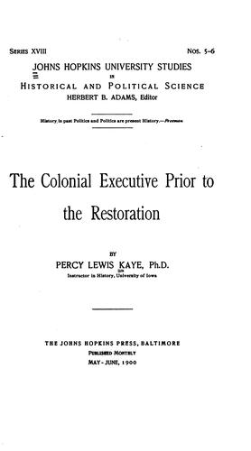 Download The colonial executive prior to the restoration