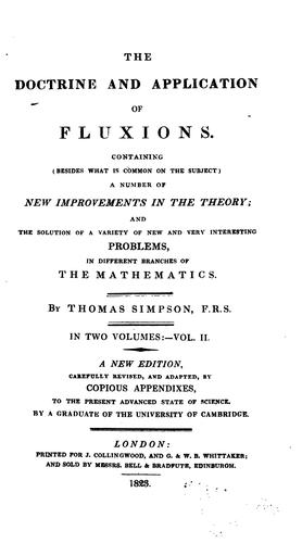 The doctrine and application of fluxions.