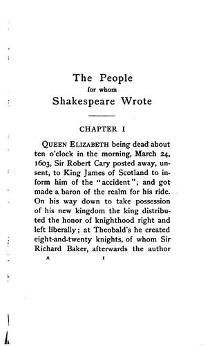 Download The people for whom Shakespeare wrote