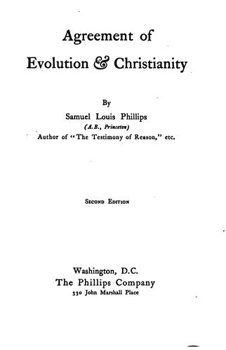 Agreement of evolution & Christianity.