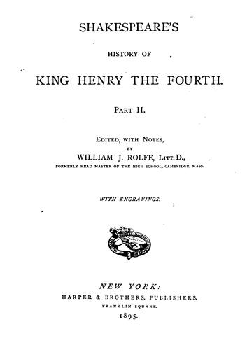 Shakespeare's history of King Henry the Fourth.