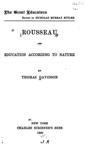 Download Rousseau and education according to nature