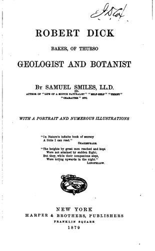 Robert Dick, baker, of Thurso, geologist and botanist
