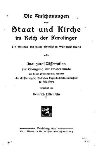 Die Anschauungen von Staat und Kirche im Reich der Karolinger