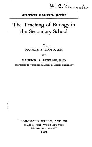 … The teaching of biology in the secondary school