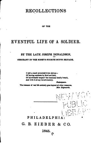 Download Recollections of the eventful life of a soldier.