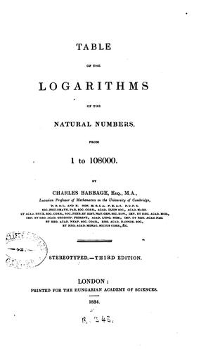 Table of the logarithms of the natural numbers, from 1 to 108000.