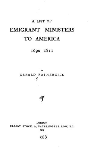 Download A list of emigrant ministers to America, 1690-1811