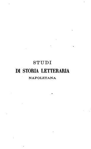Studi di storia letteraria napoletana …