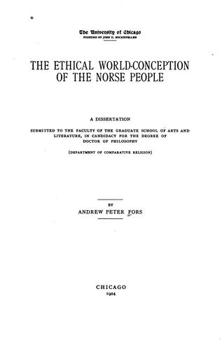 The ethical world-conception of the Norse people