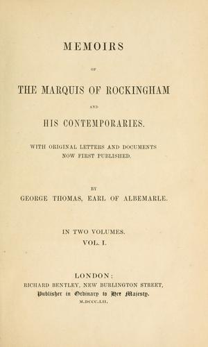 Download Memoirs of the Marquis of Rockingham and his contemporaries