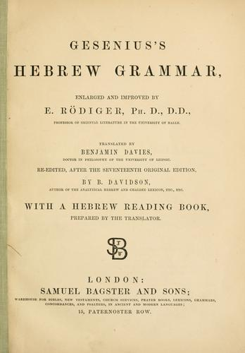 Download Gesenius's Hebrew grammar