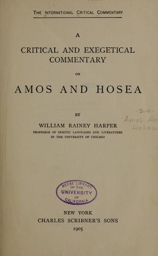 Download A critical and exegetical commentary on Amos and Hosea