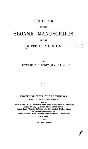 Download Index to the Sloane manuscripts in the British museum.