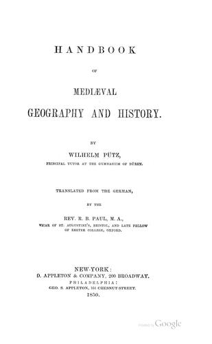 Handbook of mediaeval geography and history