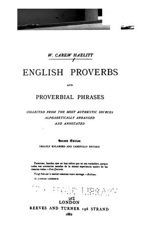 English proverbs and proverbial phrases