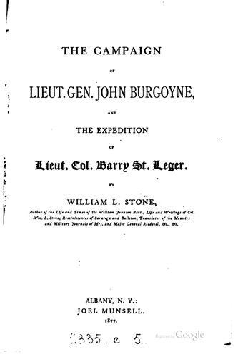 The campaign of Lieut. Gen. John Burgoyne