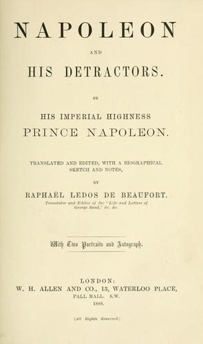 Download Napoleon and his detractors.