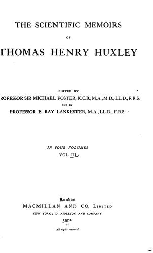 Download The scientific memoirs of Thomas Henry Huxley