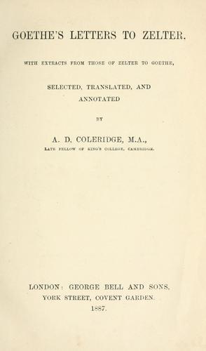 Download Goethe's letters to Zelter