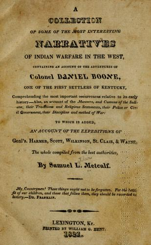 Download A  collection of some of the most interesting narratives of Indian warfare in the West