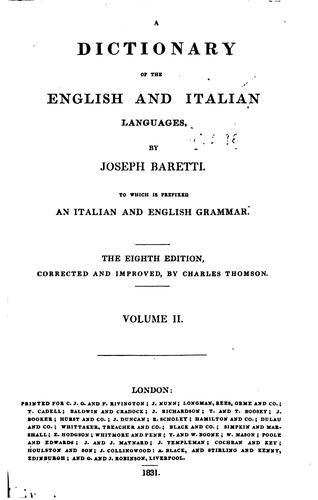 Dizionario delle lingue italiana ed inglese