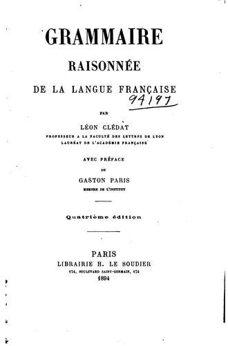 Grammaire raisonnée de la langue française