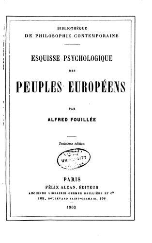 Esquisse psychologique des peuples européens