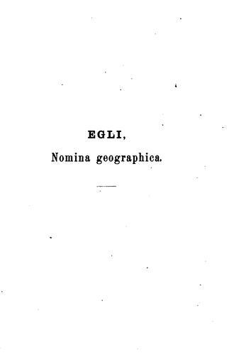 Nomina geographica